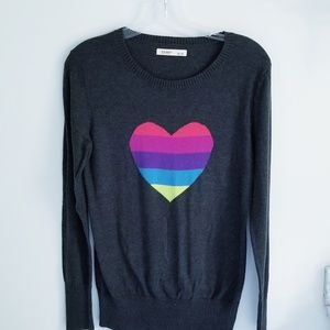 Old Navy rainbow heart gray sweater size M